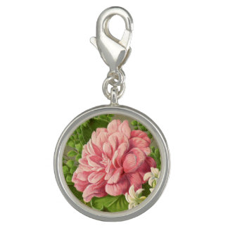 Vintage Floral Peony Classy Book Elegant Photo Charms