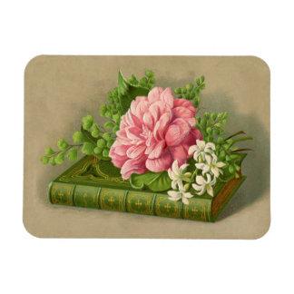 Vintage Floral Peony Classy Book Elegant Rectangular Photo Magnet