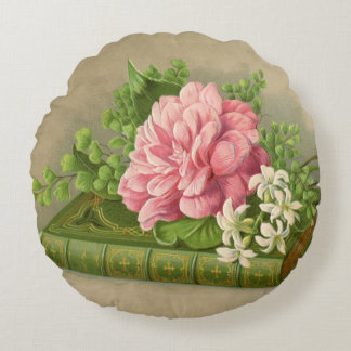 Vintage Floral Peony Classy Book Elegant Round Pillow