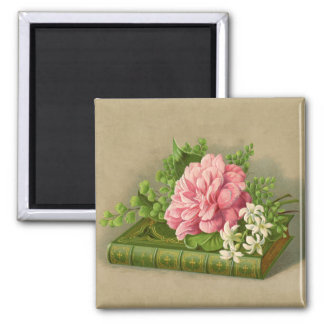 Vintage Floral Peony Classy Book Elegant Square Magnet