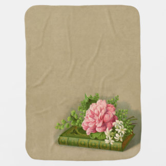 Vintage Floral Peony Classy Book Elegant Swaddle Blankets