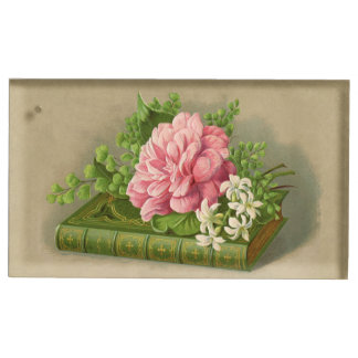 Vintage Floral Peony Classy Book Elegant Table Card Holder