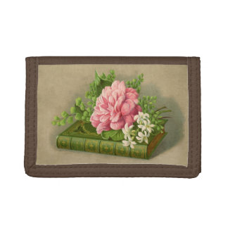 Vintage Floral Peony Classy Book Elegant Trifold Wallets