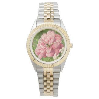 Vintage Floral Peony Classy Book Elegant Wristwatches