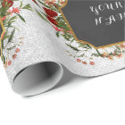 Vintage Floral Peony Personalized Name Silver Rose Wrapping Paper