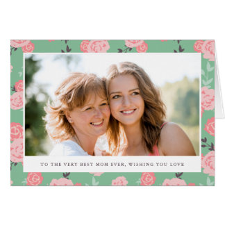 Vintage Floral Photo Mother's Day Greeting Card
