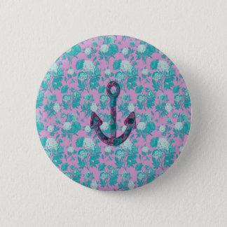 Vintage Floral Pink and Blue Anchor 2 Inch Round Button