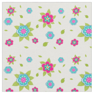 Vintage floral pink and turquoise pattern fabric
