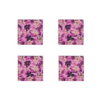 Vintage Floral Pink Beige Purple Violets Stone Magnet