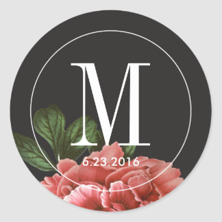 Vintage Floral   Pink Black & White Round Sticker