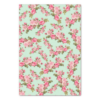 Vintage Floral Pink Camellia Flowers Luxury Tissue Paper