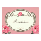 Vintage floral pink multipurpose invitation card