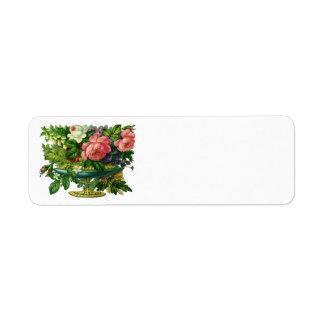 Vintage Floral Pink Roses, Vase of Flowers Return Address Label