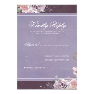 Vintage Floral Plum Lilac and Mauve Wedding RSVP Card