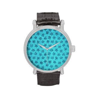 Vintage Floral Powder Blue Teal Violets Wristwatch