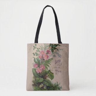 Vintage Floral Prayer I Will Follow Thee Tote Bag