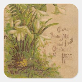 Vintage Floral Prayer Scripture Quote Square Sticker