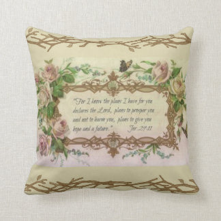 Vintage Floral Prayer Scripture Quote Throw Pillow