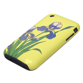 Vintage Floral, Purple Spring Garden Iris Flowers iPhone 3 Tough Covers
