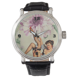 vintage floral retro pin up girl watch