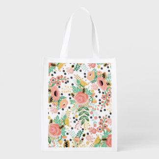 Vintage Floral Reusable Bag Grocery Bag