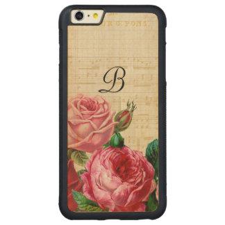 Vintage Floral Rose Monogram Carved Maple iPhone 6 Plus Bumper Case