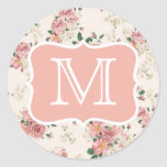 Vintage Floral Rose Monogram Round Sticker