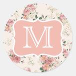 Vintage Floral Rose Monogram Round Stickers