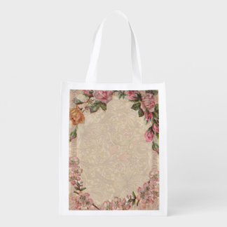 Vintage Floral Roses Antique Girly Beautiful Reusable Grocery Bags