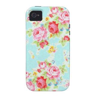 Vintage floral roses blue shabby rose pattern Case-Mate iPhone 4 cases