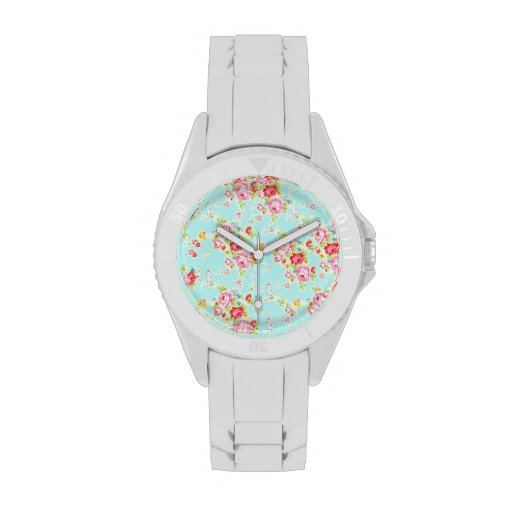 Vintage floral roses blue shabby rose pattern chic watch
