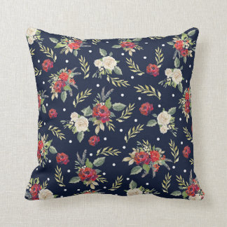 Vintage Floral Roses Christmas Holiday Shabby chic Throw Pillow