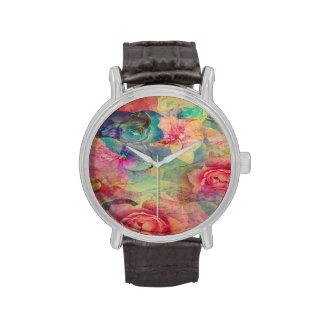 vintage floral roses collage trendy shabby chic wrist watch