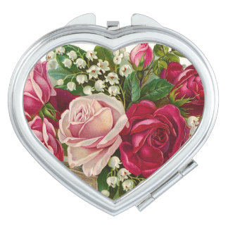 Vintage Floral roses compact mirror heart