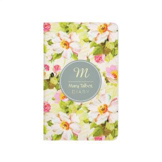Vintage Floral Roses Peonies Monogram Diary Pocket Journal