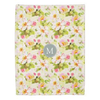 Vintage Floral Roses Peonies Monogram Duvet Cover
