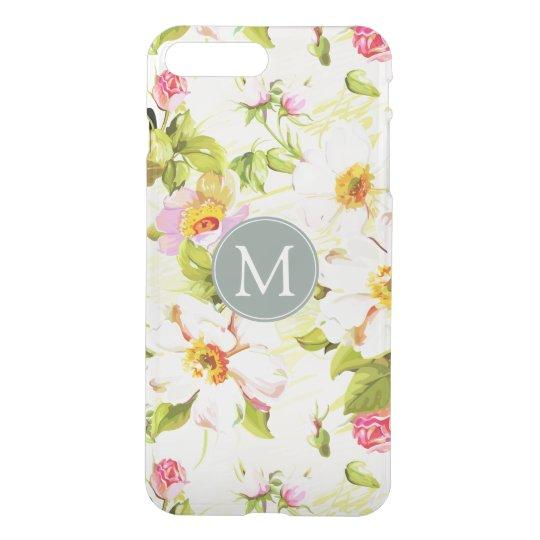 Vintage Floral Roses Peonies Monogram iPhone Case