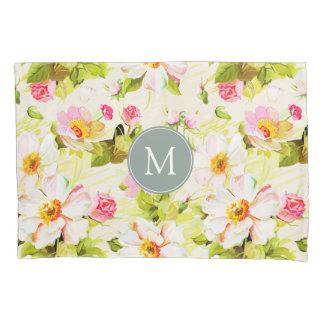 Vintage Floral Roses Peonies Monogram Pillow Case
