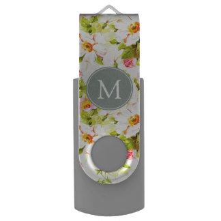 Vintage Floral Roses Peonies Monogram USB USB Flash Drive