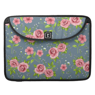 Vintage Floral Roses Pink Green Pattern MacBook Pro Sleeve