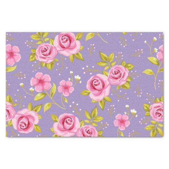 Vintage Floral Roses Pink Purple Pattern Tissue Paper