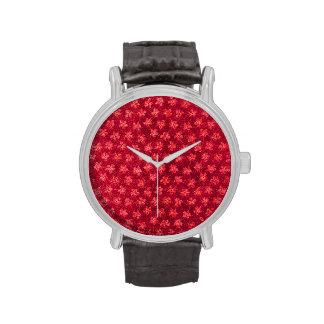Vintage Floral Ruby Cranberry Red Violets Wristwatch