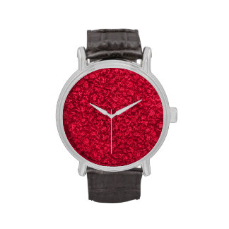 Vintage Floral Ruby Cranberry Red Wristwatches