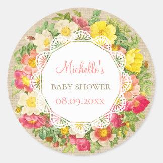 Vintage Floral Rustic Baby Shower Birthday Sticker