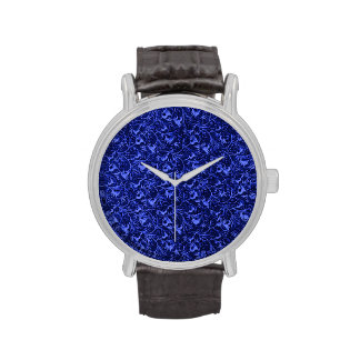 Vintage Floral Sapphire Blue Flowers Leaves Wrist Watches