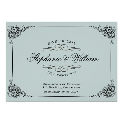 Vintage Floral Save The Date Card in Light Blue