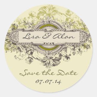Vintage Floral Save The Date Sticker