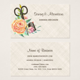 Vintage Floral Seamstress Scissors and Thimble Business Card