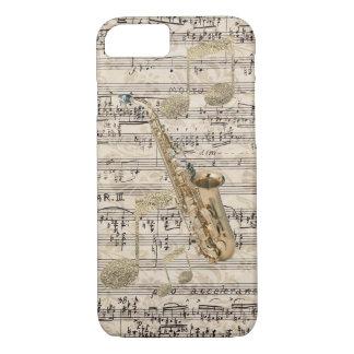 Vintage Floral Sheet Music Saxophone & Gold Music Case-Mate iPhone Case