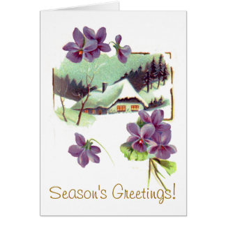 Vintage Floral Snow Home Holiday Card